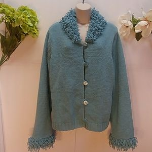 Reference Point New York Blue Chenille Cardigan